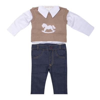 Conjunto bebê com pullover cavalo - Branco e bege