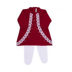 Conjunto bebê com renda e cristais swarovski 2 peças - Vermelho e branco