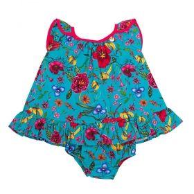 Conjunto bebê com vestido e calcinha - Azul