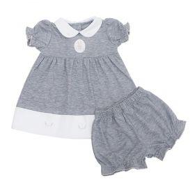 Conjunto bebê com vestido e calcinha - Branco e Cinza