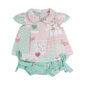 Conjunto bebê corações - Verde água e rosa