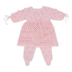 Conjunto bebê crochê - Rosa bebê