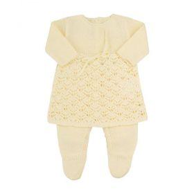 Conjunto bebê em tricot 2 peças - Amarelo