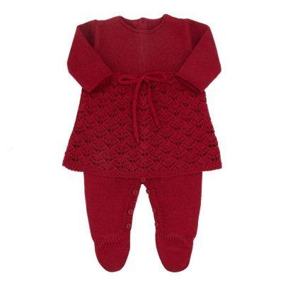 Saída de maternidade feminina jardineira e vestido - Vermelho