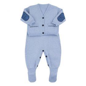 Conjunto bebê em tricot bordado - Azul bebê