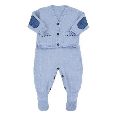 Saída de maternidade masculina casaco e jardineira - Azul bebê