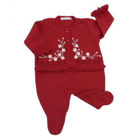 Conjunto bebê em tricot bordado de flores 2 peças - Vermelho