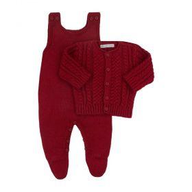 Conjunto bebê em tricot - Vermelho
