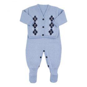 Conjunto bebê escocês - Azul bebê
