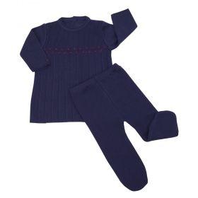Conjunto bebê feminino 2 peças bordado - Azul marinho