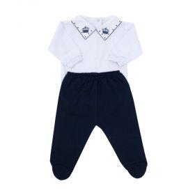 Conjunto bebê feminino 2 peças - Branco e azul marinho