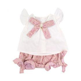 Conjunto bebê feminino 2 peças - Branco e rosê