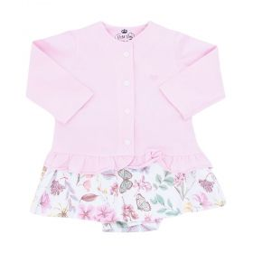 Conjunto bebê feminino 2 peças - Rosa bebê e branco