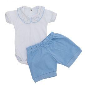 Conjunto bebê feminino body bordado 2 peças - Branco/Azul bebê