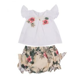 Conjunto bebê feminino floral - Marfim e branco