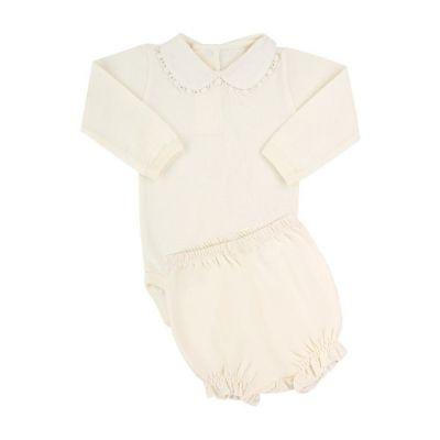 Conjunto bebê com body e short - Marfim