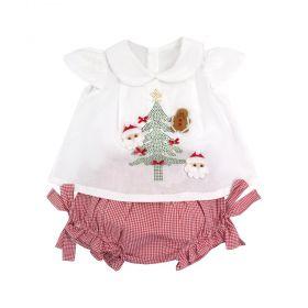 Conjunto bebê feminino natal - Branco e vermelho