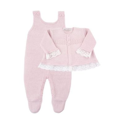 Saída de maternidade feminina jardineira e casaco - Rosa bebê