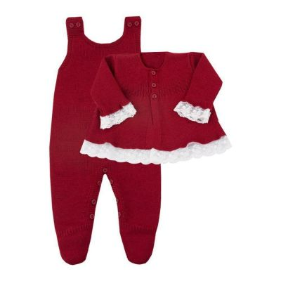 Conjunto bebê com jardineira e casaco - Vermelho