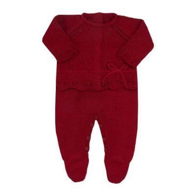 Saída de maternidade feminina jardineira e casaco - Vermelho