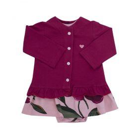 Conjunto bebê femino 2 peças floral - Rosa bebê e marsala
