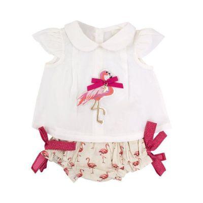 Conjunto bebê flamingos - Branco e rosa