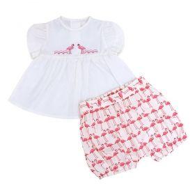 Conjunto bebê flamingos - Marfim