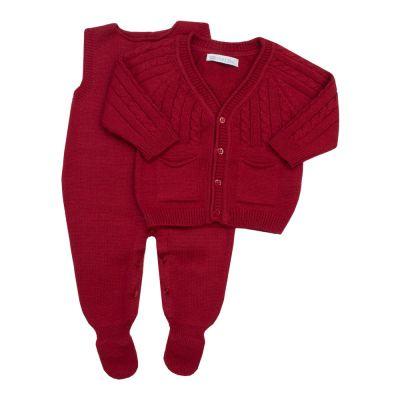 Conjunto bebê jardineira e casaco - Vermelho