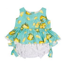 Conjunto bebê limão - Verde água e branco