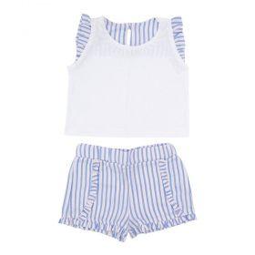 Conjunto bebê listrado - Branco e azul