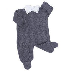 Conjunto bebê macacão e body - Cinza