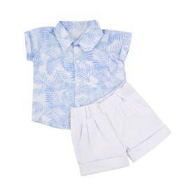 Conjunto bebê maculino 2 peças - Branco e azul bebê