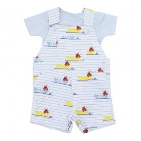 Conjunto bebê masculino 2 peças - Azul bebê e branco