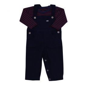 Conjunto bebê masculino 2 peças - Azul marinho e bordô