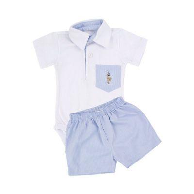 Conjunto bebê masculino 2 peças - Branco e azul bebê