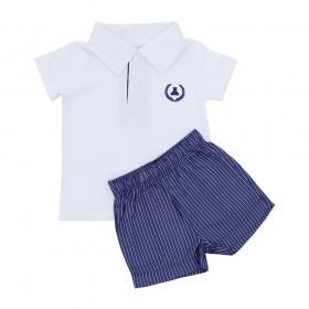 Conjunto bebê masculino 2 peças - Branco e jeans