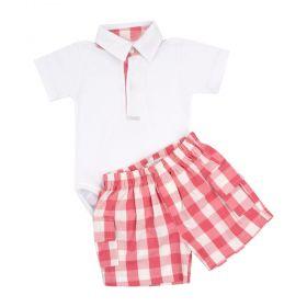 Conjunto bebê masculino 2 peças - Branco e vermelho