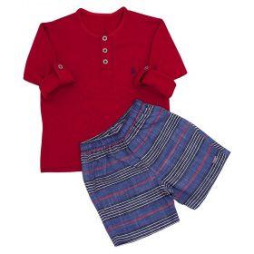 Conjunto bebê masculino 2 peças - Vermelho e azul