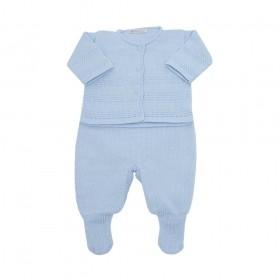 Conjunto bebê masculino 3 peças - Azul bebê