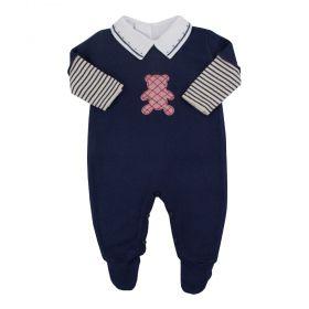Conjunto bebê masculino 3 peças - Azul marinho