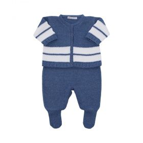 Conjunto bebê masculino 3 peças - Azul petróleo