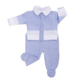 Conjunto bebê masculino 3 peças - Branco e azul bebê
