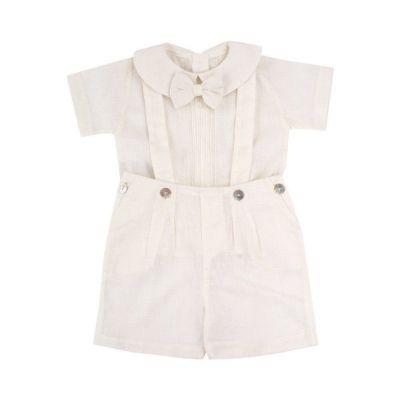 Conjunto bebê masculino 3 peças - Off white