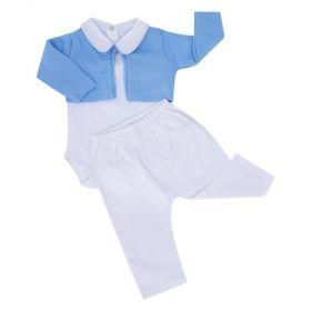 Conjunto bebê masculino - Azul e branco