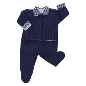 Conjunto bebê em tricot 3 peças - Azul marinho