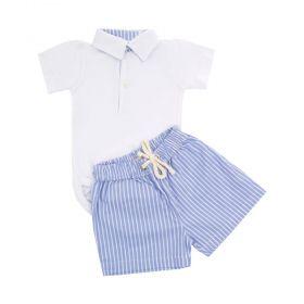 Conjunto bebê masculino listrado - Branco e azul bebê