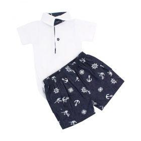 Conjunto bebê menino marinheiro - Branco e jeans