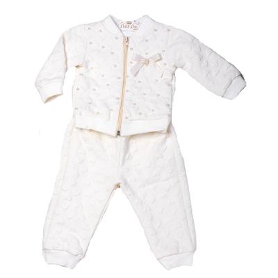 Conjunto bebê moletom coração - Marfim