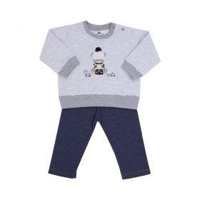 Conjunto bebê moletom de ursinho e calça jeans - Cinza e jeans