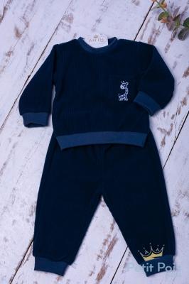 Conjunto bebê moletom girafa - Azul marinho